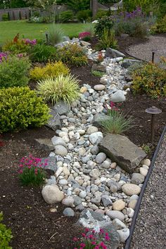 dry creek bed for drainage -