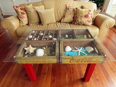 make a table from recycled old crates and glass
