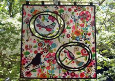 """""""FLYING BIRDS""""   Wall Hanging.  20""""x20""""  Machine Applique and Free Motion Quilting.  This is what I made after my second class with Linda Cooper. She calls it Kinetic Quilts and I think it is a very original idea.  QUILTS BY MARISELA."""