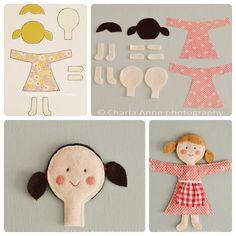 como hacer muñecas con fieltro