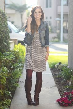 Tights with boots are a great combination. Since there are only a few inches of tights exposed, try a fun bright color like blue, pink or gold! A denim jacket balances the outfit out.