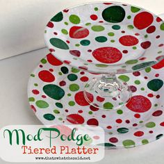 Glitter Mod Podge Tiered Cookie Platter. This is BEYOND adorable! I'm already thinking of the possibilities for our house!
