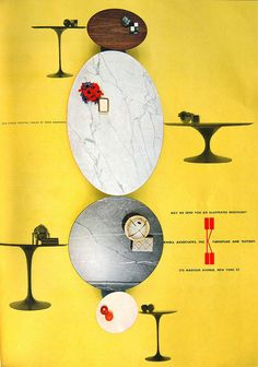 Knoll Advertisement for Eero Saarinen Tables in Progressive Architecture, July 1958