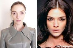 Famous models with and without makeup - not so bad...better with makeup on though