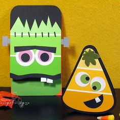 Halloween craft using paintchips - Green paint chip Frankenstein and orange paint chip candy corn