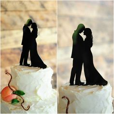 #silhouette cake-topper by @Angela Gray (Simply Silhouettes) such a great job! It's really us! #wedding #cake #topper