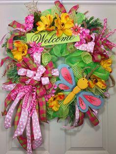 Spring Mesh Wreath on Etsy, $110.00