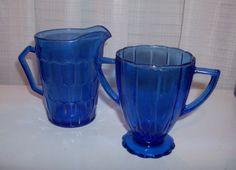 Cobalt Blue Depression Glass Cream and Sugar Set