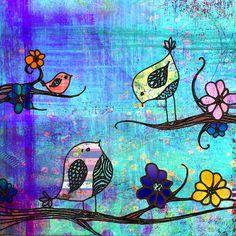 bird paintings, artists, art journal, drawings, tree
