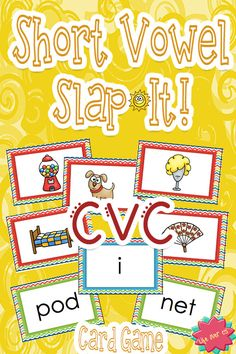 A Slap Jack-style game for building short vowel recognition with CVC words and pictures. An out of the box way to get students reading and listening. $ #lifeovercs #CVC #kindergarten