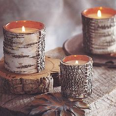 Natural Birch Bark Candle - luxury candles - #gifts