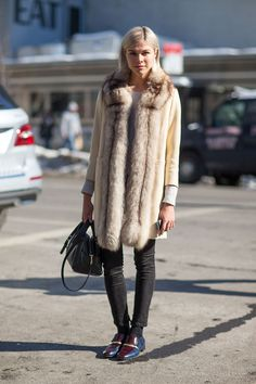 Street chic at #NYFW F/W 2014 #fur #loafers #fashion fashion weeks, woman fashion, wedding shoes, fashion styles, street styles, fur, new york fashion, style fashion, street chic