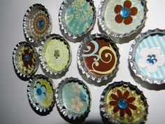 Bottlecap Magnets. I have a large jar of bottle caps. Another option when doing marble magnets