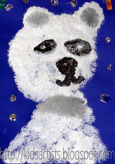 Kids Artists: grade 1 marshmallow stamped  polar bears
