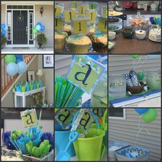 Blue and Green Party Collage blue and green birthday party, parti collag, color schemes, birthday parties, green parti, blue green, blue and green theme party, 1st birthday, parti idea
