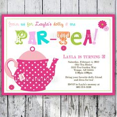 Tea Party Birthday Invitation Tea Party Birthday Invite - Printable