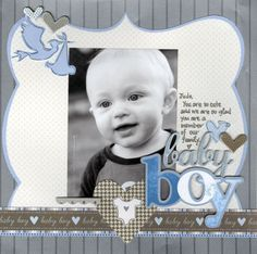 baby boy scrapbook page layout ideas | Baby Boy Layout Page, large