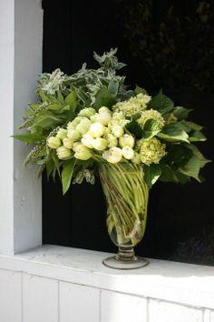 flower arrang, green tulip, fresh flowers, white bouquets, tulips, floral arrangements, spring blooms, botani flower, tulip arrang