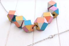 Wooden Faceted Beads.