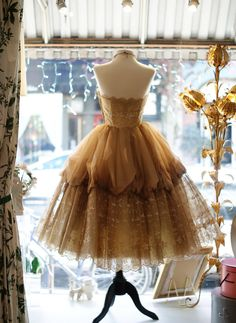 Vintage Tulle Dress :: Window Display ::  French Style Evening Gown :: #women #apparel This is so gorgeous, but I'd never wear a short dress.