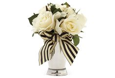 """Striped ribbon around a julep cup. One Kings Lane - Fresh Start - 7"""" Roses in Mint Julep Cup, White"""