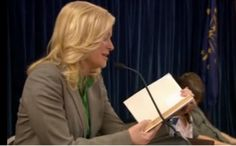 Leslie Knope of Parks And Recreation reading The Phantom Tollbooth by Norton Juster!