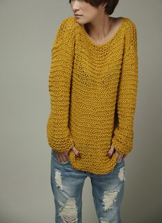 Hand knitted Woman Sweater Eco Cotton Oversized in Mustard Yellow.