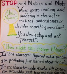 Notice & Note Aha Moment--Jen Ochoa's anchor chart from Notice and Note, modified by me--to use with Notice and Note.