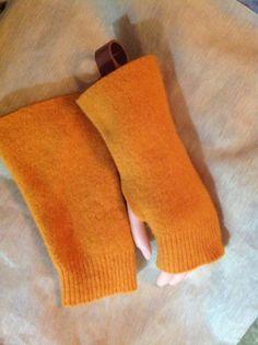 C8 pumpkin yellow wool felted Fingerless by mcleodhandcraftgifts