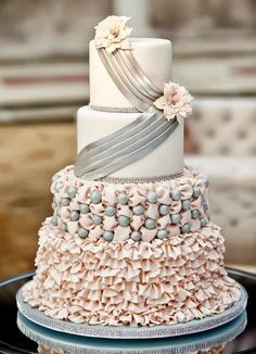 Pink & Silver Wedding Cake  www.tablescapesbydesign.com https://www.facebook.com/pages/Tablescapes-By-Design/129811416695