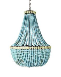 Empire turquoise beaded chandelier by Marjorie Skouras