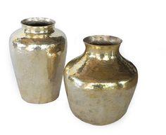 jarron cobre dorado, crioll, artesania mexicana