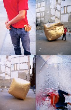 The Basic House by Martin Azua is a temporary house that can be folded up to fit in your pocket. Created from a metalized polyester material, when unfolded it self inflates with body heat or from the heat of the sun to provide an instant shelter. Once inside the shelter, the material reflects your body heat to keep the user warm. If reversed the material will reflect the sun to keep a cool interior.