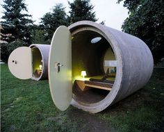 Hotel rooms made from discarded drain pipes.  https://www.recyclebank.com/live-green/three-unique-hotels-made-recycled-material/