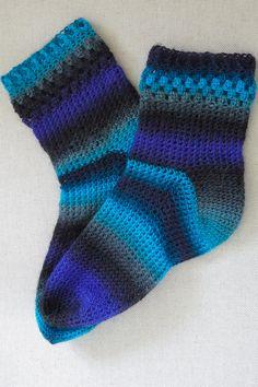 Hilly Town Blue: Crochet Socks  Free Ravelry Pattern