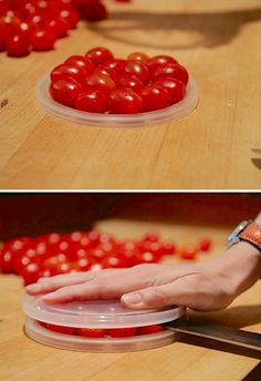 Cherry Tomato Hack I usually just pop these in whole, but if you are using them for a salad or other dish, here is a trick using 2 plastic lids to cut them quickly! Make sure you are using a large, sharp knife.