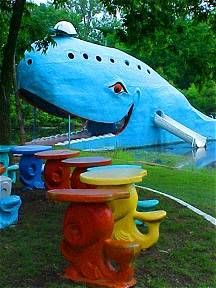 The Blue Whale has become one of the most recognizable attractions on old Route 66 in Oklahoma. Hugh Davis built it in the early 1970s as an anniversary gift to his wife Zelta. The Blue Whale and its pond became a favorite stop and swimming hole for both locals and travelers alike.