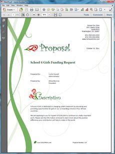 School Funding Request Sample Proposal - The School Funding Request Sample Proposal is an example of a proposal using Proposal Pack to request funding for a private school. Create your own custom proposal using the full version of this completed sample as a guide with any Proposal Pack. Hundreds of visual designs to pick from or brand with your own logo and colors. Available only from ProposalKit.com (come over, see this sample and Like our Facebook page to get a 20% discount)