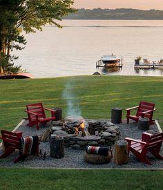 lake houses, side tables, back doors, dream, backyard fire pits