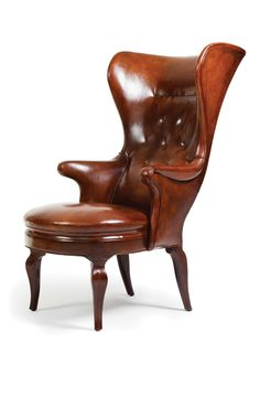 "Jean de Merry / ""Aland"" leather wingback chair"