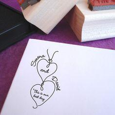 Heartstrings Custom Rubber Wedding Stamp by purplelemondesigns, $33.00
