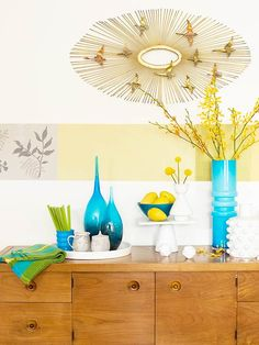 turquoise + yellow + wood