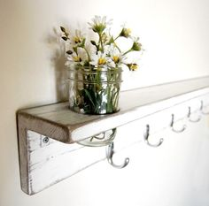 white shelf with hooks wooden shabby cottage chic by OldNewAgain, $85.00