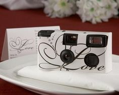 'Love' Disposable Wedding Camera with Table Card (White) --These will be great for the reception tables