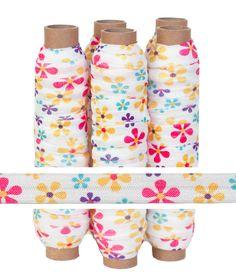 Spring Daisy Print Fold Over Elastic, $4.50 print fold, print elast, spring daisi, daisi print