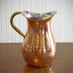 Hammered Copper Pitcher with Ice Guard