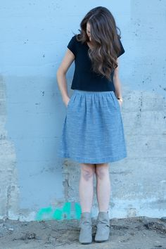 dotty chambray everyday skirt // cut cut sew