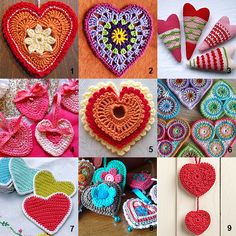 Nine crochet hearts patterns. Links in the post by Imagine Mechanix.