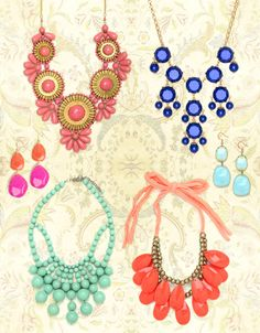 This summer we've seen a huge spike in people piling on the jewelry, especially chunky necklaces and earrings in bright colors like yellow, aqua, coral, and this season's official pantone: tangerine. We reached out to our favorite accessory source, BaubleBar, for tips on what pieces to shop for to freshen up your sparkly collection.  Grace here, fromBaubleBar!  We've definitely seen bright colors selling all spring and summer long. Whether it's a statement-making bib necklace, fun