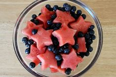 Blueberry and watermelon salad.  Perfect for patriotic parties.  #memorialday #4thofJuly